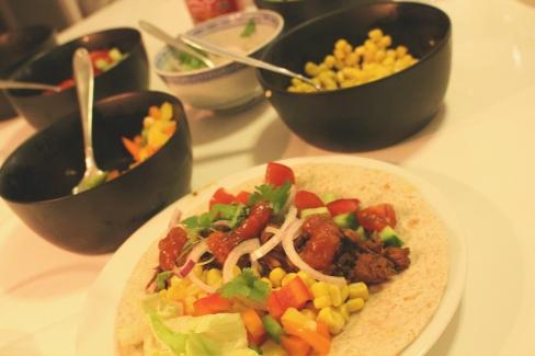Jackfruit tacos w background
